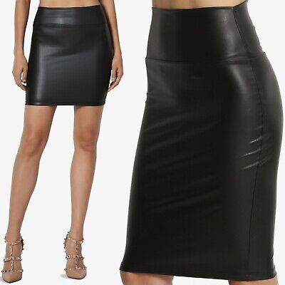 TheMogan Faux Leather High Waisted Bodycon Knee Length Fitted Pencil Skirt