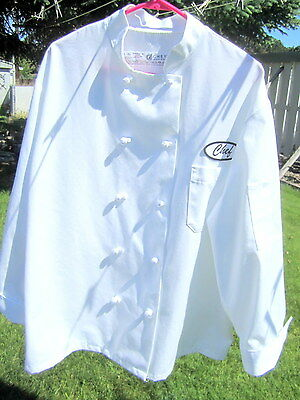 Professional Chef's Coat W/Hat Sz Large Regular EXCELLENT USED CONDITION! White