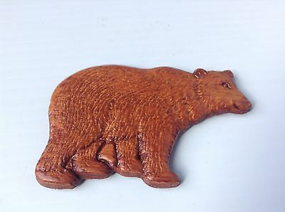 Hand Carved Bear Sculpture Made in Canada with Magnet on back