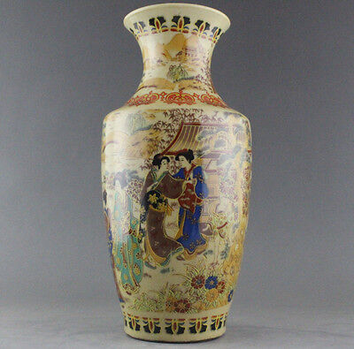 Chinese collectable old porcelain handwork painting maid pattern noble vase