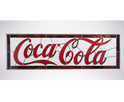 Coca Cola Coke Restaurant Bar Tiffany Stained Glass Window Hanging Man Cave Sign