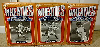 Vintage 3 Box Set Wheaties Cereal Babe Ruth, Lou Gehrig, Willie Mays Sealed Box