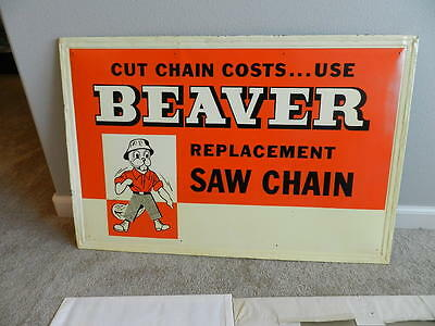 Vintage Advertising Sign-1960's Beaver Brand Chainsaw Chains Sign-Logging- Rare