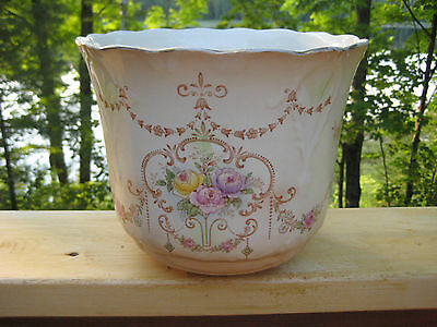 ANTIQUE VINTAGE CROWN DUCAL BLUSH IVORY JARDINIERE c1915-1929
