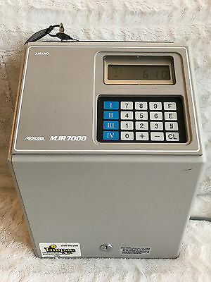 Amano Microder MJR7000 Computerized Time Clock Excellent Condition With Keys