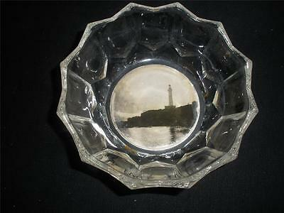 Small Glass Dish With Lighthouse Picture Base