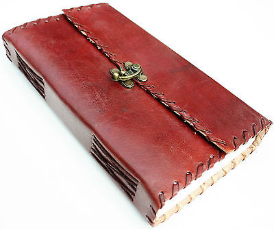 Handmade Leather Stiched C-Lock Travel Journal Diary Notebook Great Gift