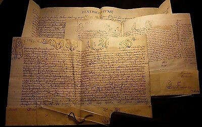 LOT of 3 VERY OLD MANUSCRIPTS on PARCHMENT 1726 - POPE BENEDICT XIII BULLA