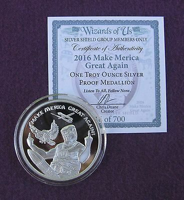 """2016 SSG  """"Wizards of Us"""" TRUMP - MAKE MERICA GREAT AGAIN  - 1 oz Silver Proof"""