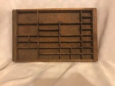 Antique  Wood Letterpress Printing Press Drawer Tray Shadow Box -LT
