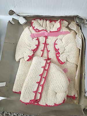 Antique Vintage Child Baby Doll Knitted Jacket and Shawl Pink Crochet Edges NIB