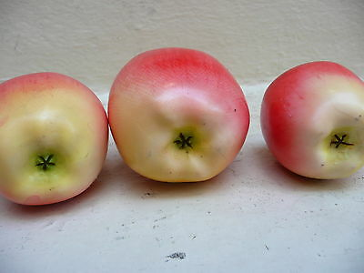 Antique Japanese Polychromed Hand Carved Set of Three Apples