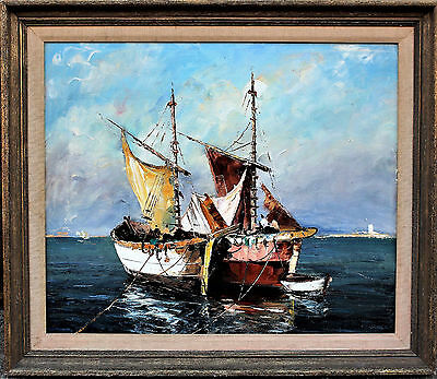 Vintage Oil Painting Canvas Boats Seascape Wood Frame Signed
