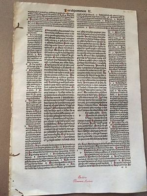 Original 1489 Bible Leaf Folio! 'O Lord there is none like you to help' $100Item