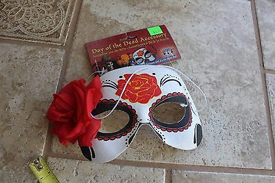 masquerade ball Halloween Mardi Gras Mask Costume Day of the Dead red black rose