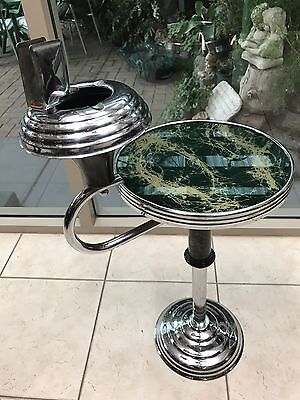 Vintage Antique Art Deco Smokers Stand Table - Emerald Green Pearl Bakelite Top