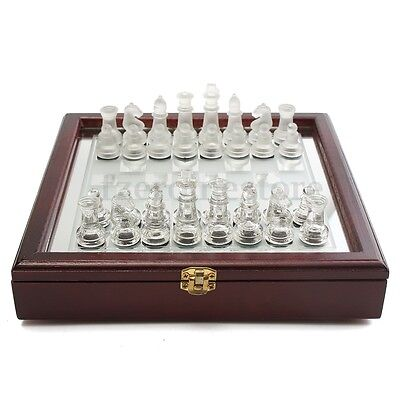 250x250mm Folding Glass Chess Checkers Board Portable Set Decor Games Toy