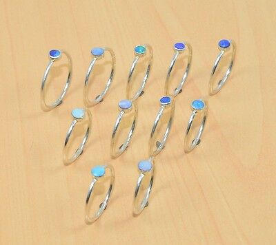 Wholesale 11Pc 925 Solid Sterling Silver Natural Blue Australian Opal Ring Lot