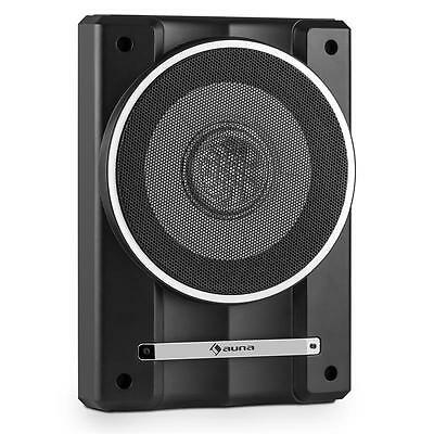 "Auna Flat Underseat Active Car 10"" Subwoofer 200W Remote * Free P&p Uk Offer"