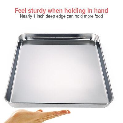 Baking Tray STAINLESS STEEL OVEN ROASTING TIN 40CM Cake Pan Cookies Baking Pan