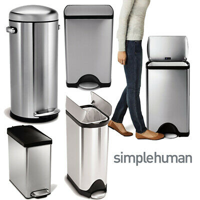 Simplehuman Stainless Steel Pedal,Touch Bar Waste Dust Bins