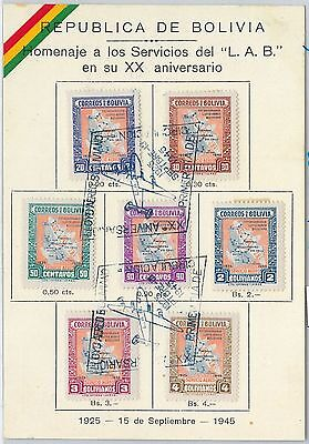 63303  - BOLIVIA - POSTAL HISTORY -  SPECIAL CARD with FDC POSTMARK 1945 - MAPS