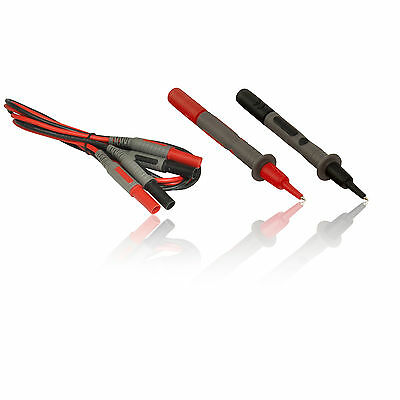 Red & Black Fully Shrouded Electrical Test MultiMeter Probes & 1.2m Leads