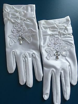 FAB White Communion Girl Ruched Gloves Floral Lace Pearls Diamanté Cross