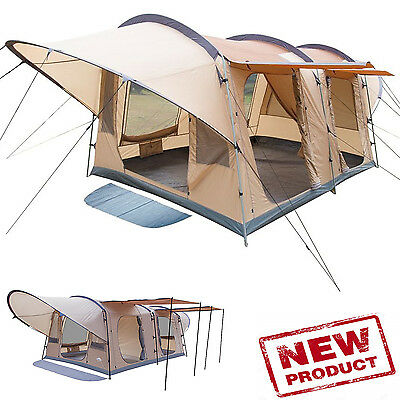 Family Camping Tent 8-Person Woodlands 13 x 10 2-Separate Rooms Extended Awnings