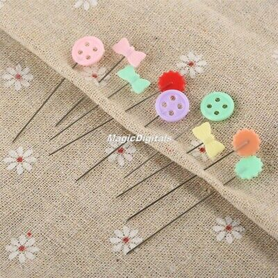 100pcs Mixed Colours Sewing Patchwork Pins Flower Head Sewing Tool Needle Arts