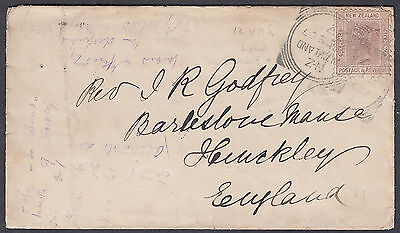 1888 New Zealand Squared Circle to Hinkley (B/S), Leics; Poor Condition