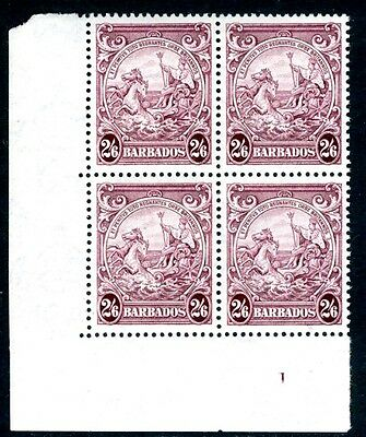 BARBADOS-1938-47 2/6 Purple Unmounted Mint Corner Marginal Block of 4 V16462