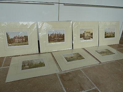 7 Mounted Antique Images of Country Seats Stately Homes c1870s by Morris