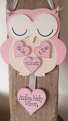 Personalised New Baby Gift Handmade Owl/Plaque/Sign Christening Naming Birth