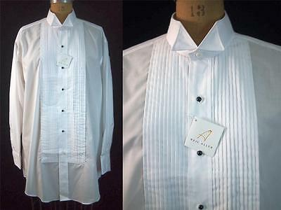 "NEW White NEIL ALLYN Wing Collar Tuxedo Shirt Black Buttons 1/4"" Pleat L 32/33"
