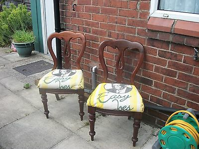 Pair of Antique victorian mahogany balloon back chair,s with recycled seat,s