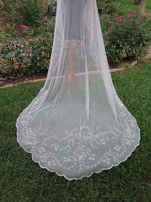 Gorgeous Antique French Tambour Cotton Tulle Cathedral Bridal Wedding Veil