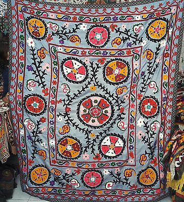Lovely Unique Silk Base  Vintage  80's  Uzbek Hand Silk Embroidered Suzani  1U2