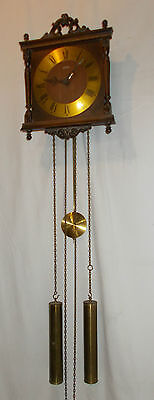 Wehrle AMS Weight DRIVEN Wall CLOCK With 2 BRASS Weights & CHIME Vintage