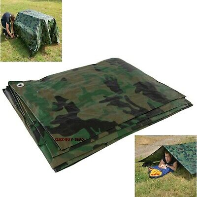 Camouflage Tarpaulin 2.4M X 3M Waterproof Basha Camo Tarp Outdoor Ground Sheet