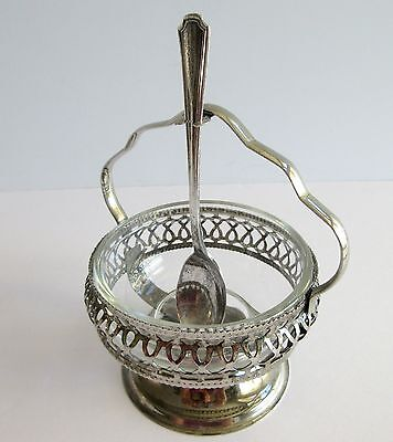 Silverplate Jam Jelly Server Glass Bowl England Filigree Spoon Oneida Hotel