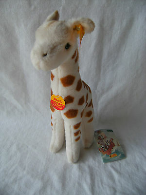 "Steiff Junior bendy junggirrafe 30 12"" soft toy with all tags and ear button VGC"