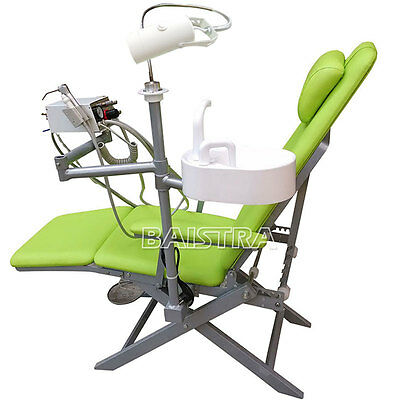 Dental Portable Folding Chair+LED light  Turbine unit+Air water syringe Green