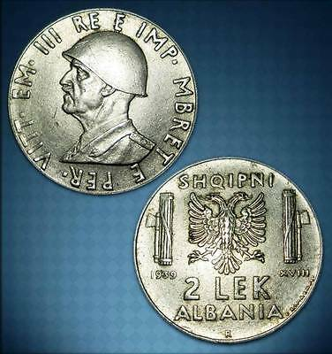 Albania 1939 Coin - 2 Lek No Magnetic - Italy Occupation - 8