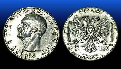 5 LEK . SILVER COIN. MADE IN ITALY . ALBANIA 1939 - nr 7