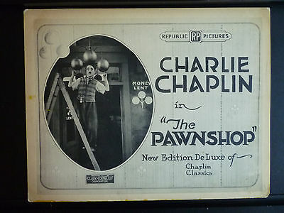1916 THE PAWNSHOP - RARE R1920s TITLE LOBBY CARD - CHARLIE CHAPLIN SILENT COMEDY