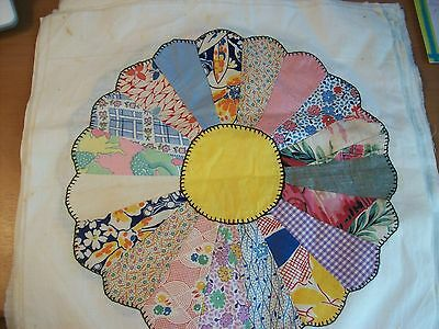 Dresden Plate Quilt Blocks Squares lot of 19 Hand Stitched Feed Sack  40s 30s