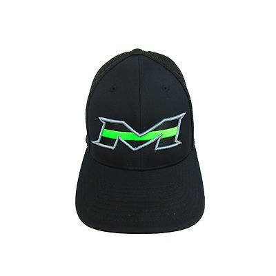 Miken Hat by Pacific 404M All Black/Lime Stripe SM/MD (6 7/8- 7 3/8), NEW