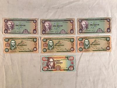 Old Jamaica/Jamaican Paper Money Currency $1 $2 & $20