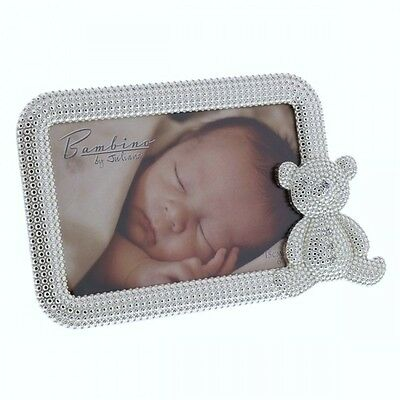 Beautiful Silver Plated Baby Gift Photo Frame Sparkly Teddy Design by Juliana